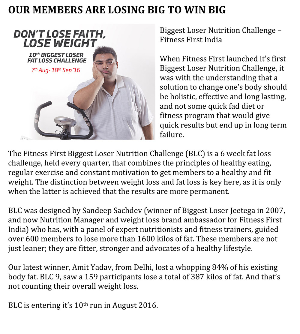 our members are losing big to win big fitness first india